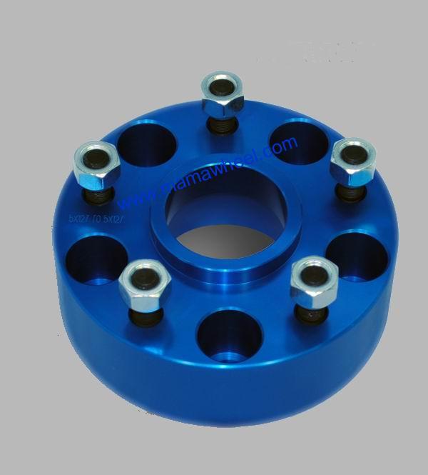 Blue Jeep BMW wheel spacer