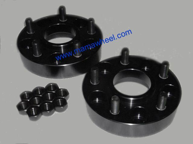 Black wheel spacer adapter